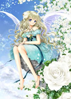 Garden angel with long wavy blond hair, blue eyes, white feather wings, & turquoise dress by manga artist Shiitake.