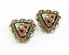 Your place to buy and sell all things handmade Clip On Earrings, Gold Earrings, Gold Filigree, Triangle Shape, Poppies, Heart Ring, Jewels, How To Make, Italy