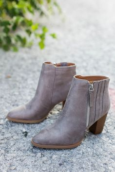 Adorable grey faux suede booties with stitch side detail & exposed side zipper closure. Dottie Couture Boutique, Suede Booties, Summer Time, Booty, Zipper, Flats, Grey, Heels, Walking