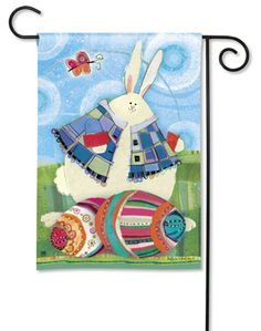 Funny Bunny Easter Garden Flag by Breeze Art. Festive Colors, Artistic Detail.  Adorable Easter garden flag by Robin Rawlings. $11.99