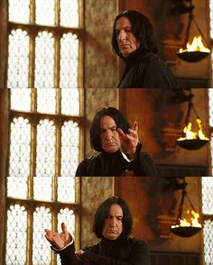 One of the best Snape moments out of all of the movies because it shows Snape has a sense of humor, even though it's only a moment he has with himself.