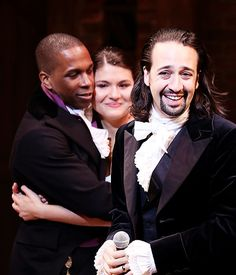 Lin-Manuel Miranda, Leslie Odom Jr. and Phillipa Soo, Hamilton Opening Night.