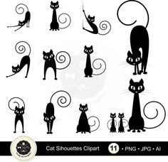 Cat Silhouettes ClipartSilhouettes clipart by CindyArtGraphic