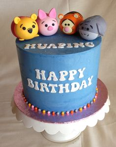 Birthday cake | tsum tsum | custom toppers | winnie the pooh | piglet | tigger | eeyore | buttercream | fondant toppers
