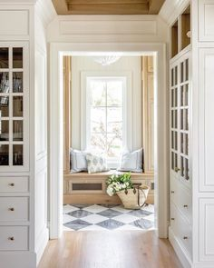 Checkerboard Floor, Checkered Floors, Checkered Floor Kitchen, Style Me Pretty Living, Oak Cabinets, How To Antique Wood, Built Ins, Mudroom, Decoration