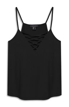 Primark - Black Cross Front Cami Top - £4