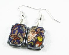 """Pair upcycled wristwatch case earrings: Liberty of London William Morris """"Strawberry Thief"""" print fabric by ohyouhandsomedevil on Etsy"""