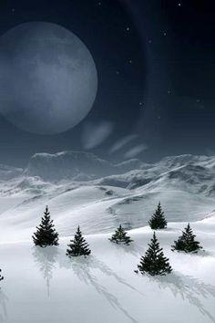 moonshadows on a Winter Night Winter Magic, Winter Snow, Winter Time, Winter Scenery, Beautiful Moon, Landscape Wallpaper, Snow Scenes, Foto Art, All Nature