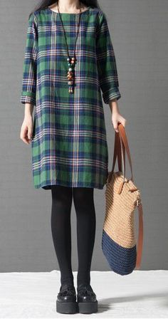 Women loose fit over plus size checkers dress fashion chic tunic casual wear #Unbranded #dress #Casual