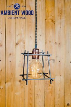 Black Square Cage copper socket Edison bare bulb by AmbientWood