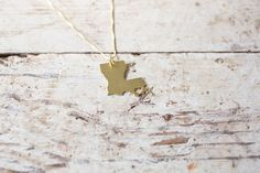 Brass Louisiana Necklace Gold Louisiana State Necklace by truche
