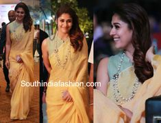 nayanthara linen saree high neck blouse hindu world of women 600x460