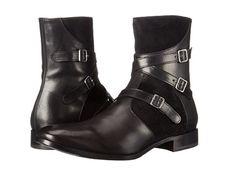 Alexander McQueen Men's Black Suede/Leather Triple Buckle Ankle Boots