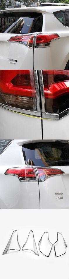 4Pcs/set ABS Chrome Rear Tail Light Lamp Taillight Cover Trim Frame Sticker Fit For Toyota RAV4 RAV 4 2016 2017 Car Accessories
