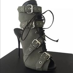 Giuseppe Zanotti buckle pumps 37.5 Brand new with box , authentic , military canvas , genuine leather trimmed , 37.5 or 7.5 - light weight , comfortable - authentication card in box with serial number on boot .. Listed for less on Mercarci and on eBay .. Price is firm Giuseppe Zanotti Shoes