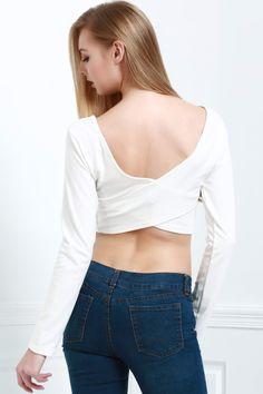 Back Cross Solid Color Long Sleeve Crop Top