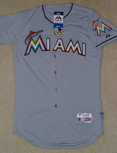 52ee06f637b NWT Authentic Miami Marlins Majestic Cool Base Road Gray Jersey Size 40    29.99 End Date  Monday Dec-17-2018 21 55 07 PST Buy It Now for…