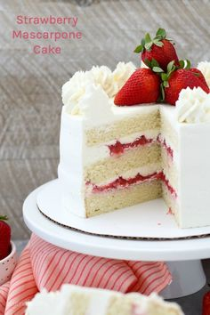 Wedding Cake Recipes This Strawberry Mascarpone Cake is layered with a homemade moist vanilla cake, a fresh strawberry filling and mascarpone whipped cream. It's the perfect combination for a strawberries and cream cake. Strawberry Vanilla Cake, Moist Vanilla Cake, Strawberry Cake Recipes, Strawberry Filling For Cake, Vanilla Cake Recipes, Moist Cake Recipes, Strawberry Shortcake Birthday Cake, Strawberry Wedding Cakes, Homemade Vanilla Cake