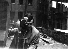 Stanley Kubrick with his 35mm Eyemo camera on the set of Killer's Kiss, 1955. Photo: Alexander Singer