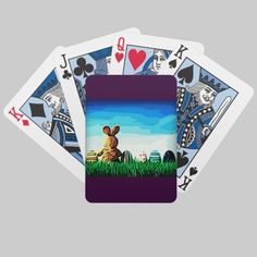 Shop Easter Bunny's Break Bicycle Playing Cards created by RedSparklesDesigns. Card Deck, Deck Of Cards, Bicycle Playing Cards, King Of Hearts, Table Games, Black Heart, Green Fashion, Easter Bunny, Design