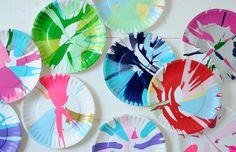 Make spin art in a salad spinner.