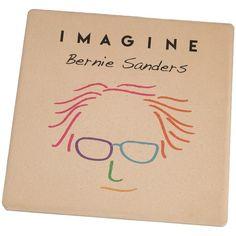 Election 2016 Bernie Sanders Imagine Set of 4 Square Sandstone Coasters