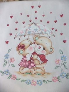 Bear Pictures, Baby Sewing Projects, Pintura Country, Cute Teddy Bears, Chalk Art, Animal Paintings, Fabric Painting, Baby Quilts, Embroidery Patterns