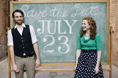 chalkboard save the date photo, aww for teacher couples  what about for 1 teacher and one...something-or-other....a musician, for example...
