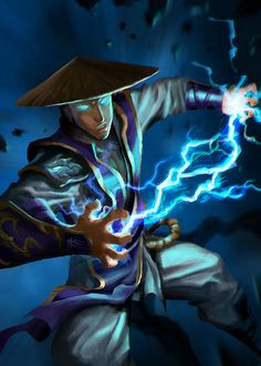 mortal kombat   young raiden by cloudintrousers - Digital Art  by Le Long  <3 <3 --beautiful art!