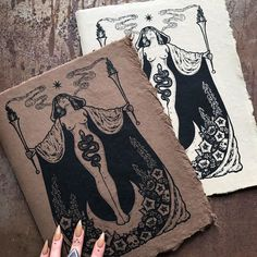 "Poison Apple Printshop on Instagram: ""Hecate's Garden journals, screen printed and bound by hand, are currently available in both 'bone' and 'besom' in the shop! The cover paper…"""