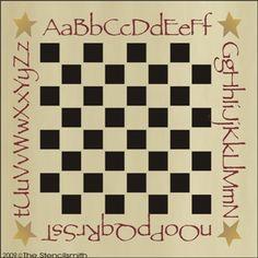 547 - Alphabet Game board-Alphabet Game board stencil checkerboard chess checkers primitive star country