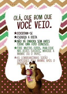 Cartão Agradecimento Quadro Masha e o Urso Kit Minnie Baby, Minnie Mouse, Festa Moana Baby, Baby Shower Activities, Candy Colors, Holidays And Events, Baby Love, Alice, Party Time