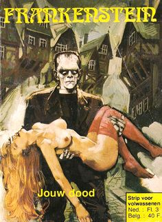 "Dutch Frankenstein comic ""for adults"" Horror Comics, Horror Art, Horror Films, Pulp Fiction Book, Halloween Illustration, Bride Of Frankenstein, Classic Monsters, Vintage Horror, Science Fiction Art"