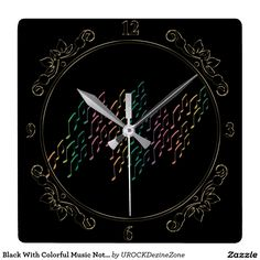 Black With Colorful #Music Notes #Clock