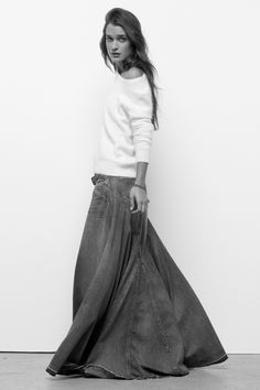 Denim maxi outfit idea #8. Wear a stiffer denim maxi skirt with a ...