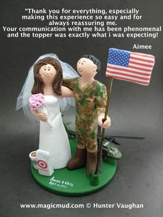 army/airforce helicopter pilot's wedding cake topper by www.magicmud.com $235     1 800 21 9814 #helicopter#pilot#army#airforce#wedding #cake #toppers  #custom #personalized #Groom #bride #anniversary #birthday#weddingcaketoppers#cake toppers#figurine#gift#wedding cake toppers