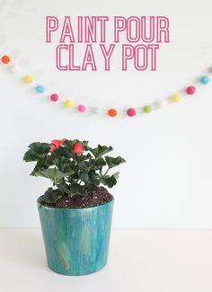 Paint Pour on a Clay Pot