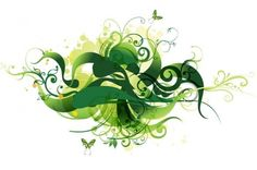 Green Floral Swirl Abstract Vector Background - http://www.welovesolo.com/green-floral-swirl-abstract-vector-background/