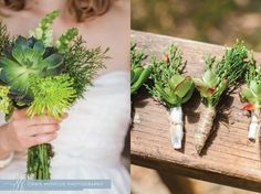 Handmade Succulents and Evergreen Bouquet and Boutonniere