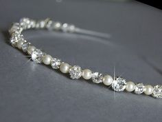 Wedding Headband - Swarovski Pearls and Rhinestone - Wedding Hair Accessories - Diamante Wedding Headbands