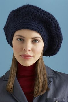 Keep your head toasty this winter with this casual beret. (Lion Brand Yarn)