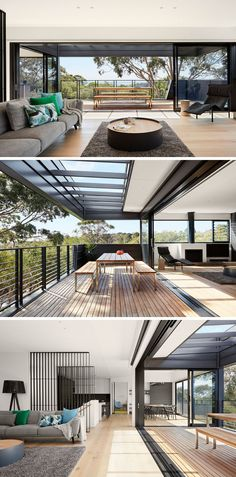 The living area of this Australian home opens up to the balcony with views of the surrounding area, making it a great space for indoor/outdoor living and entertaining.