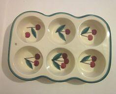 Ceramic Cup Cake/ Muffin Pan  Cherries on Ivory, Initials  MK     Pretty!!