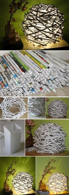 Rolled Up Newspaper Birdäs Nest Lamp  12 Easy & Edgy Lamps for the DIY Home  https://www.toovia.com/do-it-yourself/12-easy-edgy-lamps-for-the-diy-home