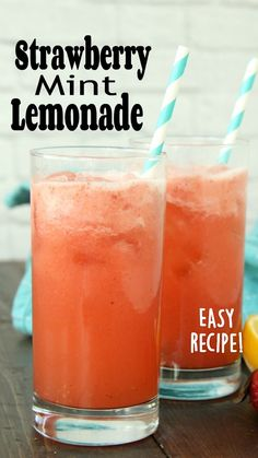 How To Make Lemonade, Easy Lemonade Recipe, Homemade Strawberry Lemonade, Flavored Lemonade, Homemade Lemonade Recipes, Strawberry Recipes, Refreshing Drinks, Summer Drinks, Fun Drinks