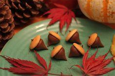 Chocolate Hershey's Kiss Acorns- made with vanilla wafer top
