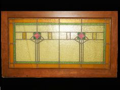 Antique Arts & Crafts Stickley Era Mission Stained Glass Window