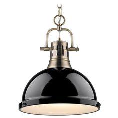 Golden Lighting Duncan Ab Aged Brass Pendant Light at Destination Lighting
