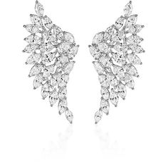 Messika     Swan Diamond Earrings ($78,200) ❤ liked on Polyvore featuring jewelry, earrings, silver, wing earrings, diamond jewellery, earring jewelry, diamond jewelry and wing jewelry