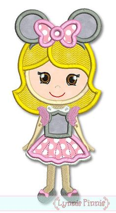 MOUSE Costume GIRL Applique 4x4 5x7 6x10 Machine by LynniePinnie, $2.99